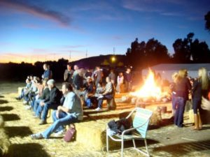 people watching the Johnny Cash Tribute Band - The Mighty Cash Cats at Hagle Christmas Tree Farm