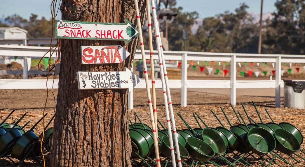 sign to attractions at Hagle Christmas Tree Farm